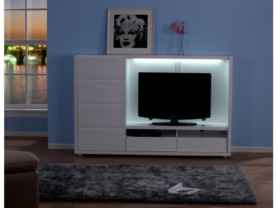 Grand meuble tv avec rangement for Grand meuble tv design