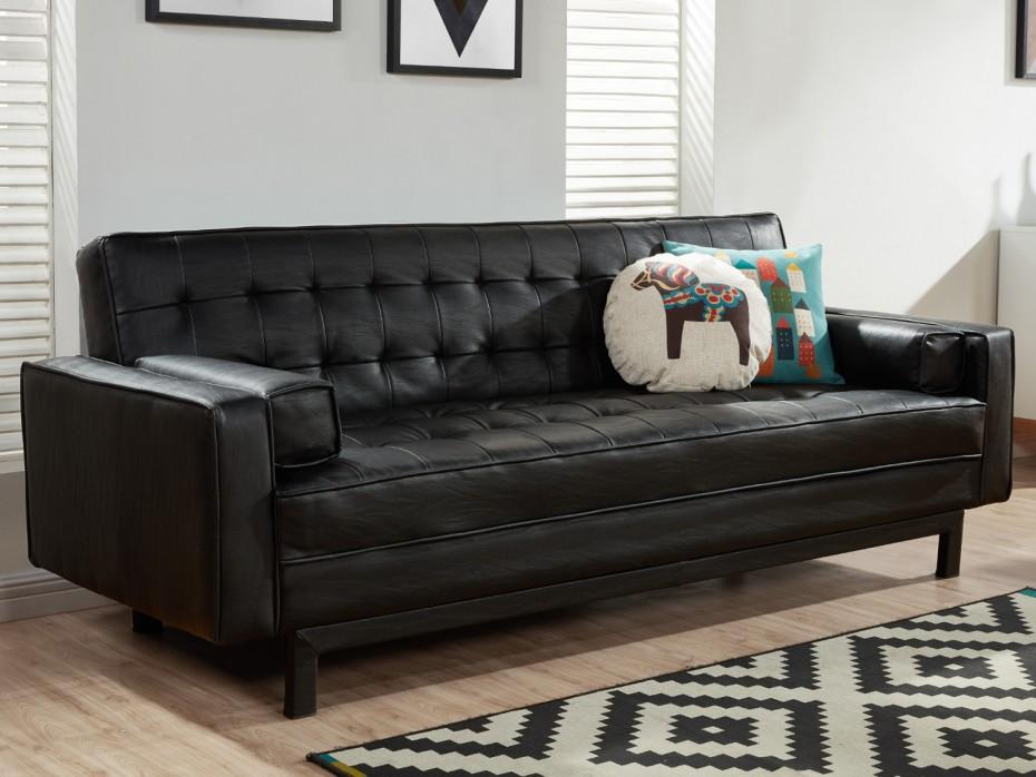 Canapé cuir coussin déco